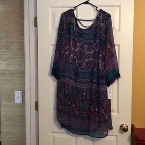 Multicolor 3/4 sleeve dress